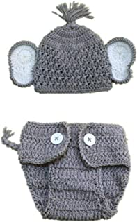 Baby Photography Props Costume, Elephant Ears Knitted Hat with Shorts Diaper Cover