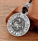 9999 - Collana in argento sterling con ciondolo a forma di quattro bestie e sei caratteri, in argento Sterling con corda, 123, Qinglong, Taglia