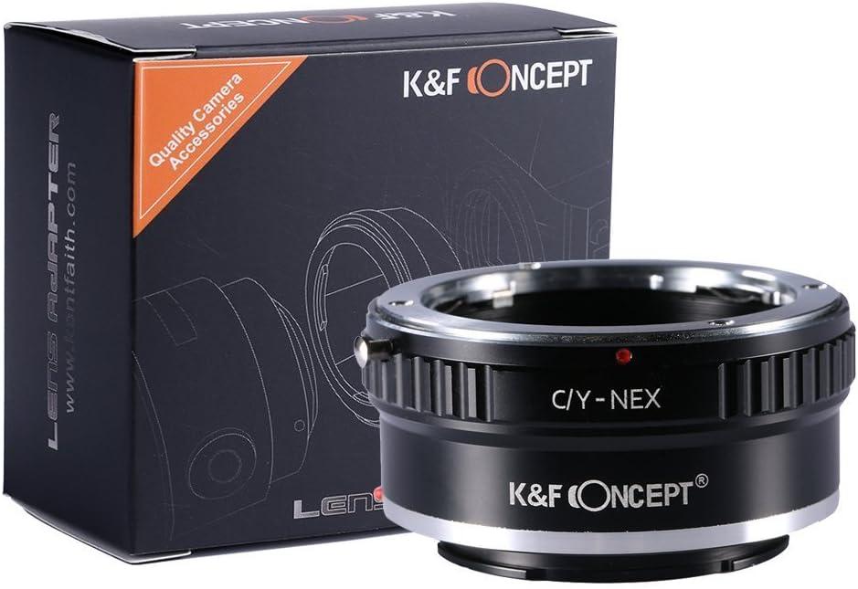 C/Y-NEX Adaptador de Lentes, K&F Concept - Adaptador Lentes C/Y Contax/Yashica a Montura Alpha NEX E-Mount Cámara