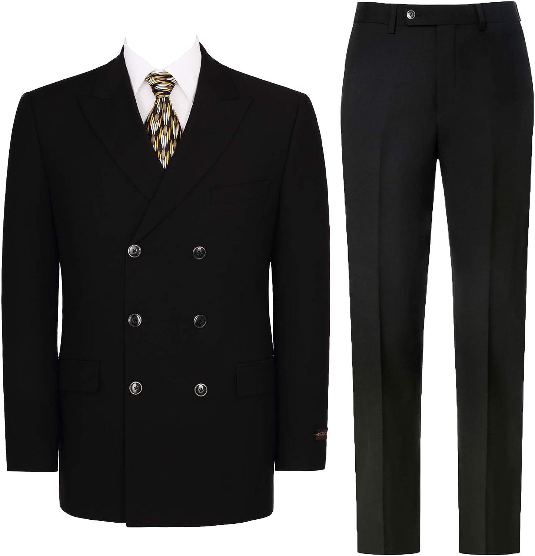 Pio Lorenzo Men's Double Breasted Suit Classic Fit 2-Piece Peak Max depot 56% OFF