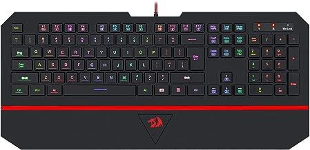 RGB Gaming Keyboard 104 Key Redragon K502 Silent Keyboard with Wrist Rest for Windows PC Games