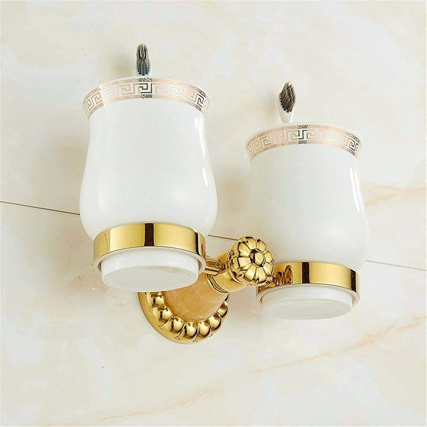 Copper gold European Type Full Natural Jade Hanger Dry-Towels,Bathroom Toilet of Double Agreement Cup