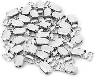 Kocome 30Pcs Metal Baby Pacifier Clip Suspender Oval Silver Tone Nipple DIY 27x13 mm