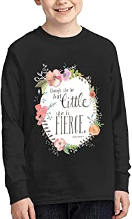 Boys' Comfortable Long Sleeve Crew Neck Cotton and Though She Be But Little She is Fierce Shakespeare Basic Tee for Men