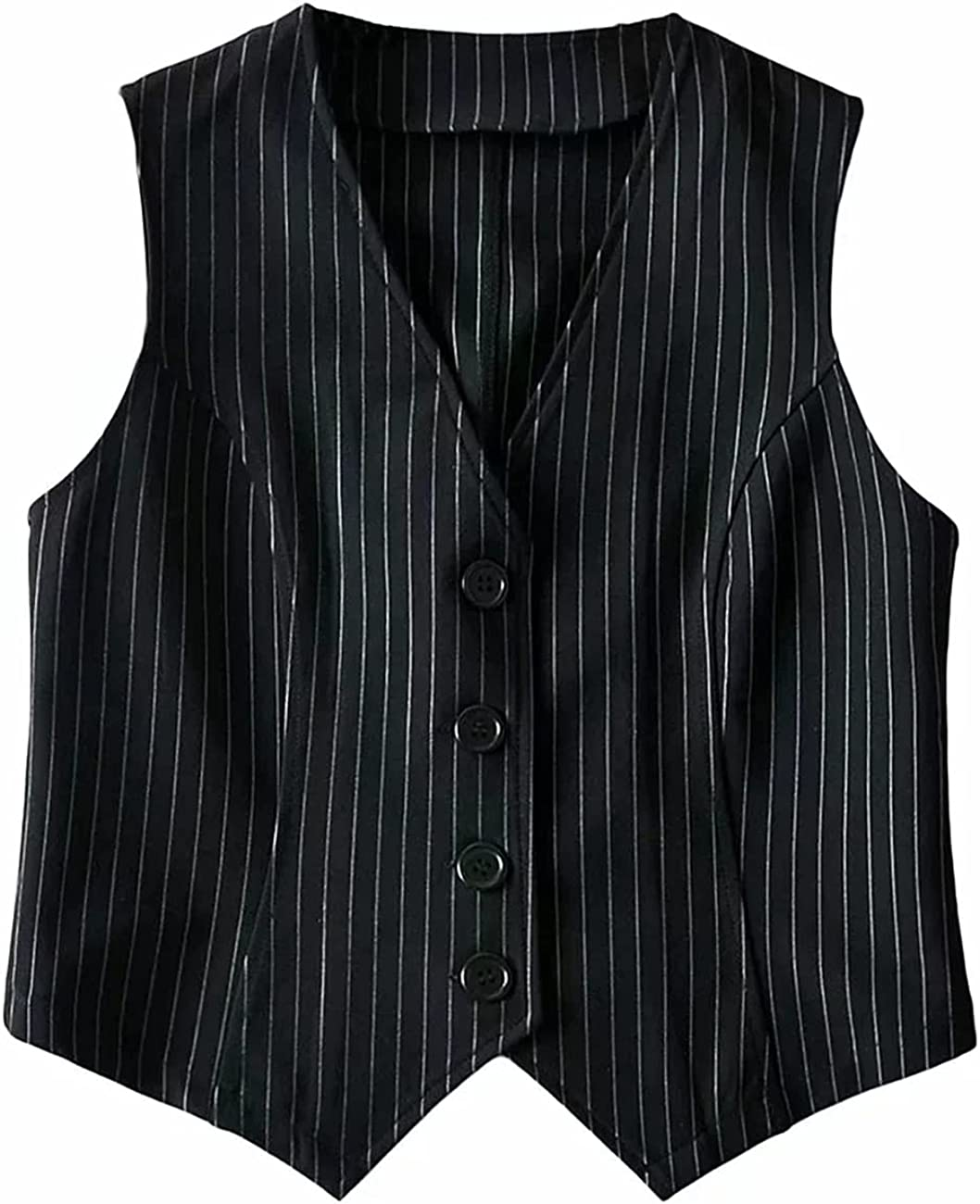 Jeovuanun Womens Striped Button Dressy Vest Jacket Casual Stretchy OL Fitted Tuxedo Suit Waistcoat
