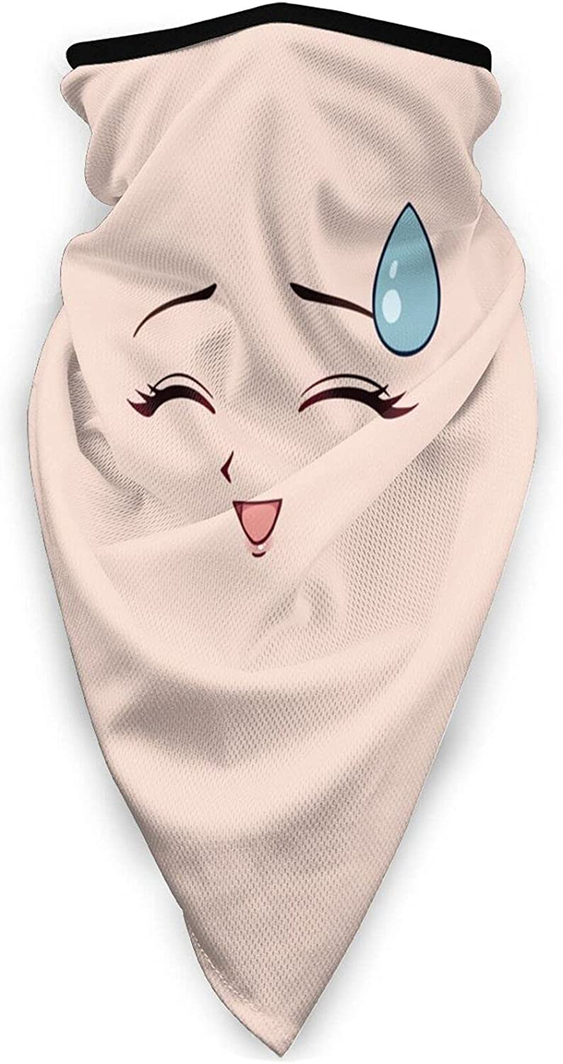 Anime Face Neck Gaiter Bandnas Face Cover Uv Protection Prevent bask in Ice Triangle Scarf Headbands Perfect for Motorcycle Cycling Running Festival Raves Outdoors Black