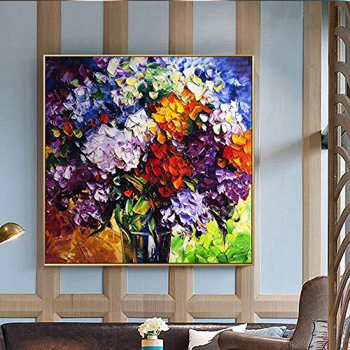Olieverfschilderij op canvas handgeschilderd, abstracte Botanische bloem,Mooie paars oranje blauw hortensia vaas, Modern Pop Art groot met de hand beschilderde muur kunst afbeelding voor thuis woonkamer restaurant decor 70×70 cm/28×28 inch