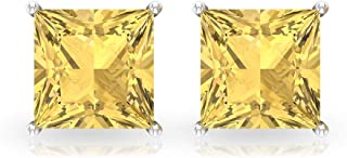 2.8 Ct Princess Cut Citrine Stud Earring, SGL Certified Gemstone Earring, Wedding Bridal Statement Earring, Solitaire Gold...