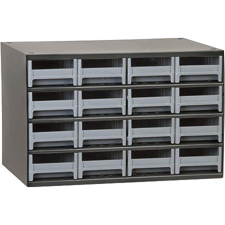 Akro-Mils 16-Drawer Steel Parts Craft Storage Cabinet Hardware Organizer, 19416, (17-Inch W x 11-Inch D x 11-Inch H), Gray Cabinet, Gray Drawers