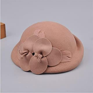 KCBYSS Autumn and Winter Lady Party Formal 100% Wool Felt Hats Women Flower Woolen Beret Caps (Color : Camel)