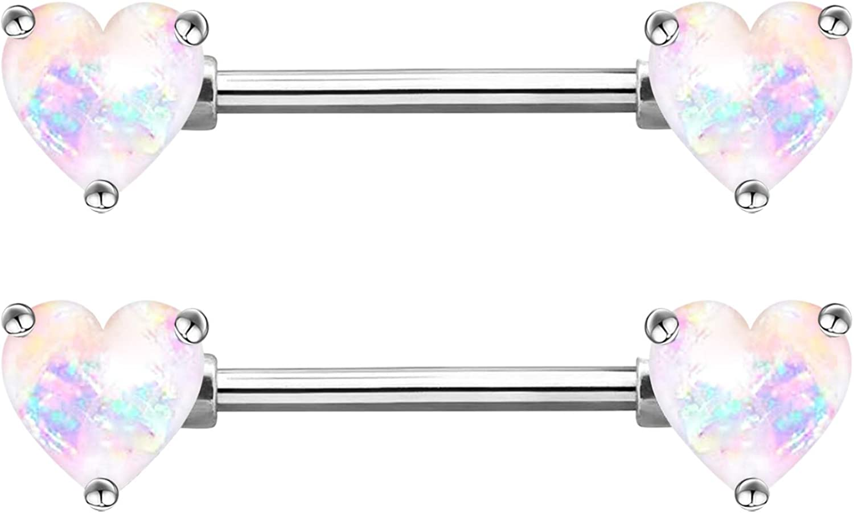 CHARM ONLINE 2PCS 14G 316L Stainless Steel Clear CZ Heart Nipple Rings Nipple Piercings Jewelry for Women…