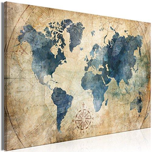 murando Impression sur Toile intissee Carte du Monde 90x60 cm Tableau 1 Peice Tableaux Decoration Murale Photo Image Artistique Photographie Graphique Vintage k-A-0415-b-a