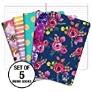 "Pocket Notebook/Journal - 5""x8"" - Assorted Patterns - Lined Memo Field Note Book - Pack of 5"