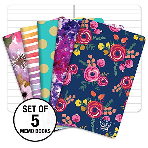 Pocket Notebook/Pocket Journal - 5'x8' - Assorted Patterns - Lined Memo Field Note Book - Pack of 5 /