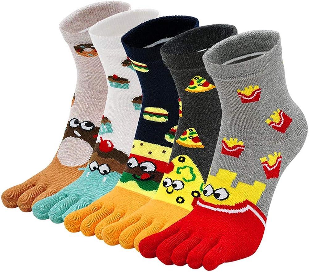 Toe Sock Women Cute Cat Dog Five Finger Sock Cotton Athletic Running Ankle Socks for Girls