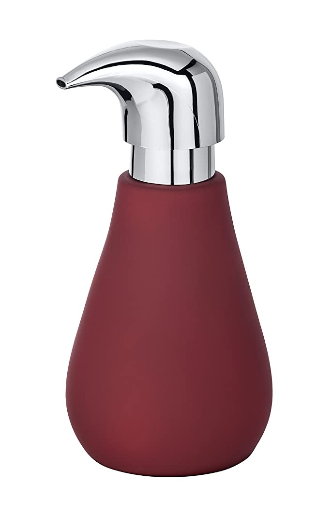 人気のコカイン読者WENKO ソープディスペンサー マット液体ソープディスペンサー ソフトタッチコーティング容量 0.32リットル セラミックレッド 9 x 8.5 x 17cm