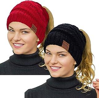 قبعة Rosoz ذيل الحصان للنساء، الشتاء الدافئ بيني الذيل لينة تمتد كابل متماسكة فوضوي قبعة كعكة عالية