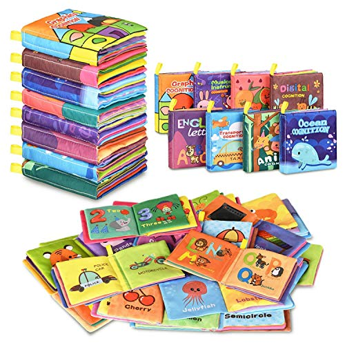 Baby Bath Books,Nontoxic Fabric Soft Baby Cloth Books,Early Education Toys,Waterproof Baby Books for Toddler, Infants Perfect Shower Toys,Kids Bath Toys Birthday Gift(Pack of 8)