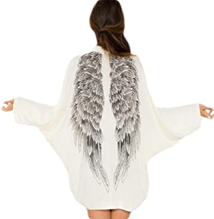 Women's Cardigans Batwing Long Sleeve Back Angel Wings Casual Loose Coat