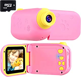 Kids Camera Camcorders 2.4 Inch Screen 8MP HD Magic Wand Creative Kids Camera For Kids Shockproof Handheld Children Selfie Toy Camera Best Gifts For 3-12 Years Old Kids (16GB SD Card Included) (Pink1)
