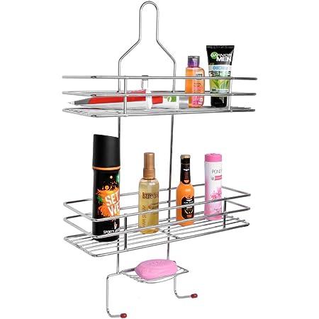 Plantex 5 in 1 Stainless Steel Big Size Multipurpose Bathroom Shelf/Kitchen Shelf/Holder/Bathroom Accessories for Home - Square
