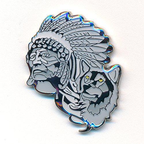 Indianer mit Wolf - Native Americans Badge USA Metall Button Pin Anstecker 0835