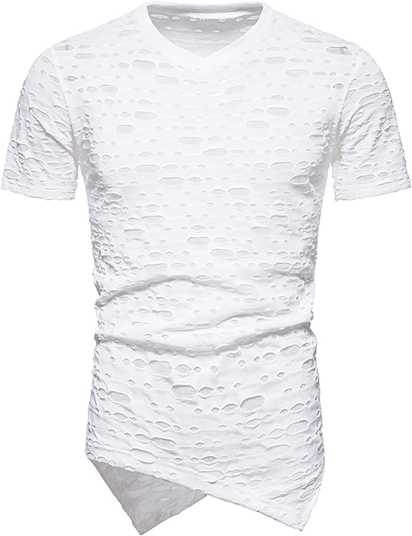 Men's Novelty Shirt, Summer Casual Short Sleeve V Neck Hollow Out Hole Asymmetrical Hem T-Shirt Pullover Tops