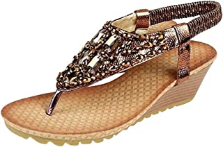 ◕。Women's Crystal Comfy Platform Sandals Beach Wedge Thong Sandals Boho Slippers Summer Bling High Flip Flops