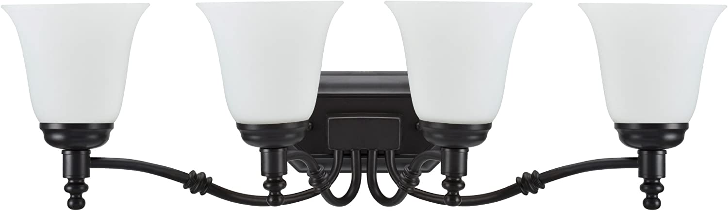 Aspen Creative 62023-1, Four-Light Metal Bathroom Vanity Wall Light Fixture, 30  Wide, Transitional Design in Oil Rubbed Bronze with Frosted Glass Shade