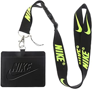 Nike Black Faux Leather Business ID Badge Card Holder with (Black with Fluorescence Yellow) Keychain Lanyard