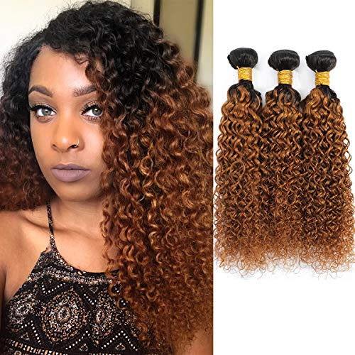 Ombre Brazilian Kinky Curly Hair 3 Bundles, 10A Remy Dark Blonde Curly Weave Human Hair Extensions 100g, 100% Unprocessed Brazilian Virgin Hair Color Brown (10  12  14 , 1B 30)