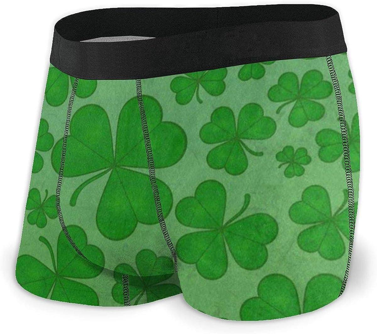 Mens Boxer Briefs St. Patrick's Day Green Clover Breathable Underwear