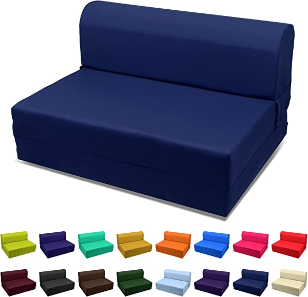 Magshion Futon Furniture Sleeper Chair Folding Foam Bed Choose Color Sized Single Twin Or Full Twin 5x36x70 Navy Blue