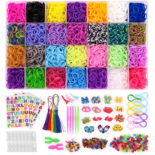 Loom Rubber Bands, 11,000pcs Rubber Band Refill Kit in 28 Colors with 600 S-Clips, 52 ABC Beads, 30 Charms, 10 Backpack Hooks, 200 Beads, 5 Tassels, 5 Crochet Hooks, 3 Hair Clips, ABC Stickers