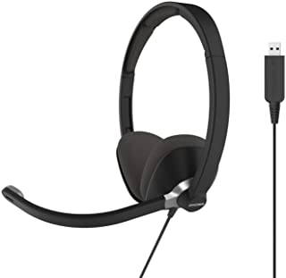 Koss CS300-USB Double-Sided On-Ear Communication Headset, Noise Cancelling Electret Microphone, Flexible Microphone Arm, Wired with USB Plug, Black