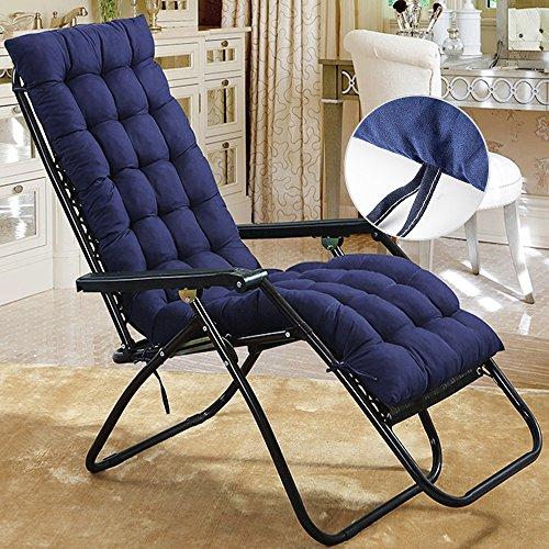Wrighteu Coussin de chaise longue de remplacement Classic Garden Patio épais Chaise inclinable Transat Pad bleu marine