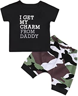 Catpapa 2pcs Baby Boys Girl's Summer Cotton Short Sleeve T-Shirt +Camouflage Pants Outfits Set