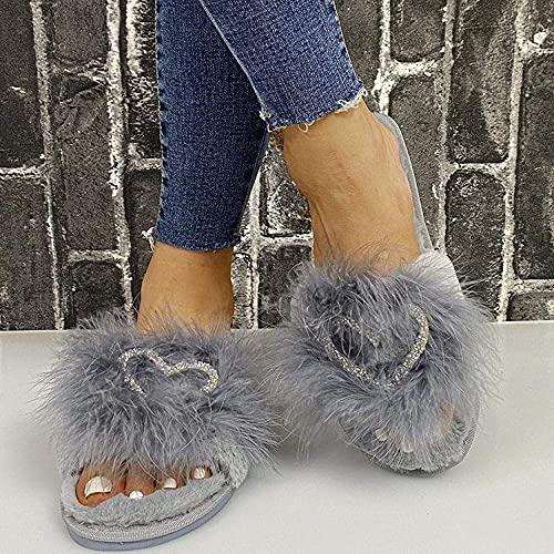 Zapatillas sin deslizamiento de casa al aire libre acogedor, zapatillas de punta abierta plana con pelo RHINESTONE RED_38, zapatillas de espuma de memoria cálida para mujer ( Color : Gray , Size : 5 )