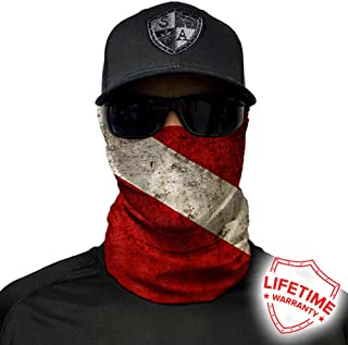 SA Company Face Shield Micro Fiber Protect From Wind, Dirt and Bugs. Worn as a Balaclava, Neck Gaiter & Head Band For Hunting, Fishing, Boating, Cycling, Paintball and Salt Lovers. - Dive Flag