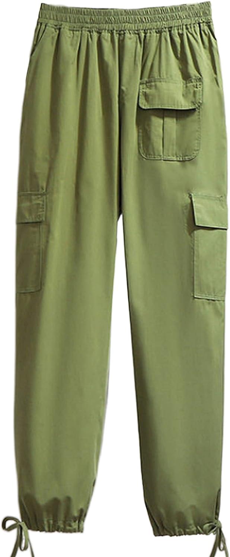 Yeokou Womens Casual Elastic Waist Baggy Cotton Carrot Cargo Jogger Pants Sweatpants Trousers