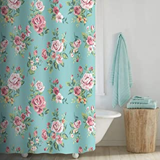 Uphome Pink Rose Flower with Leaves Customized Bathroom Shower Curtain - Aqua Waterproof and Polyester Fabric Bath Curtain Design (72