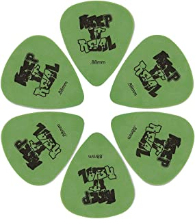 """Guitar Picks .88mm/ Heavy (6 Pack) for Bass, Acoustic & Electric Guitar - Green Guitar Plectrums with """"Keep It Real"""" Pattern"""