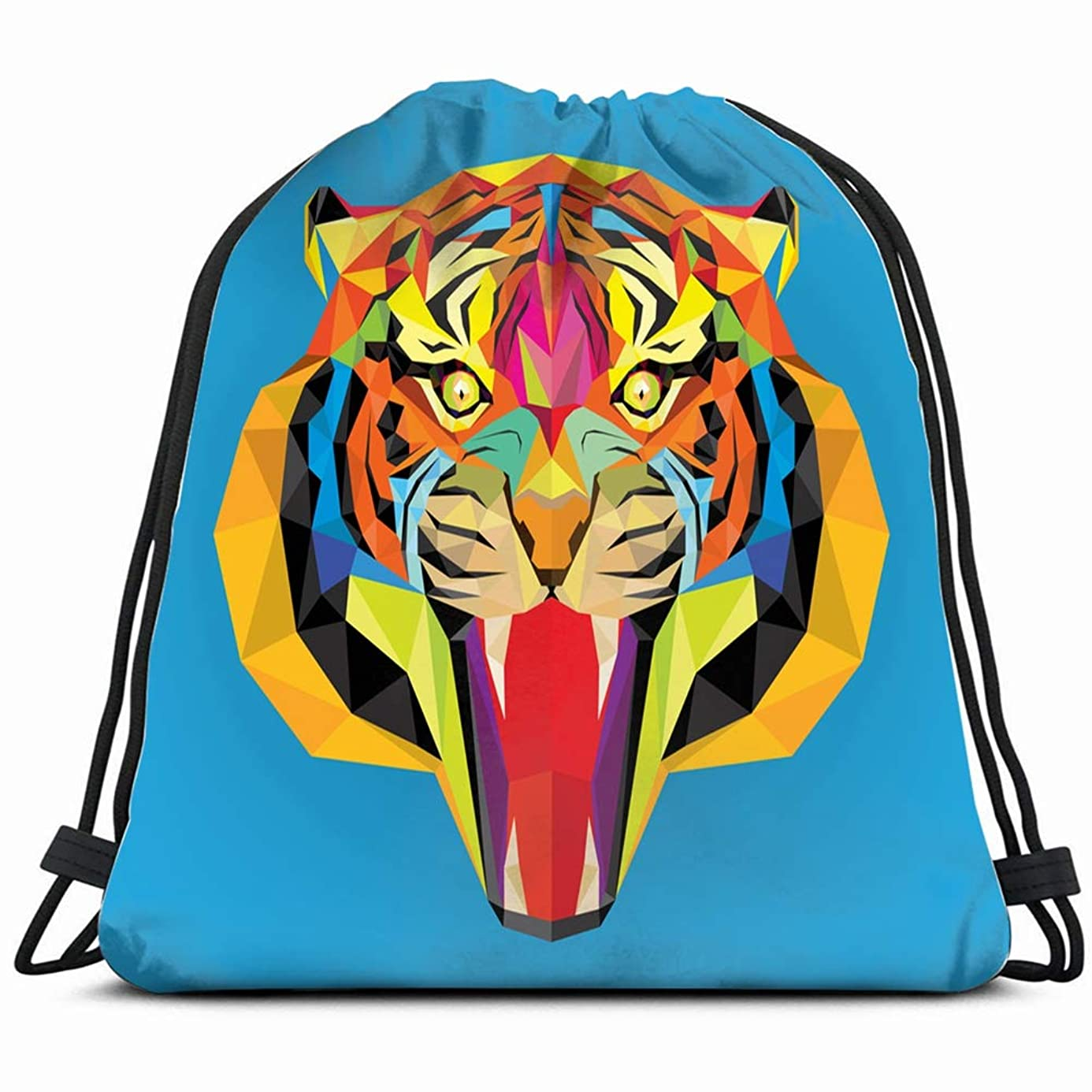 tiger head geometric style animals wildlife the arts Drawstring Backpack Gym Sack Lightweight Bag Water Resistant Gym Backpack for Women&Men for Sports,Travelling,Hiking,Camping,Shopping Yoga