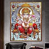 DIY Pintar por números Estatua de Buda budismo India Ganesha lienzo pintura arte Krishna imagen pintura por números para adultos principiantes Con pincel y pintura acrílica, p50x70cm(Sin marco)