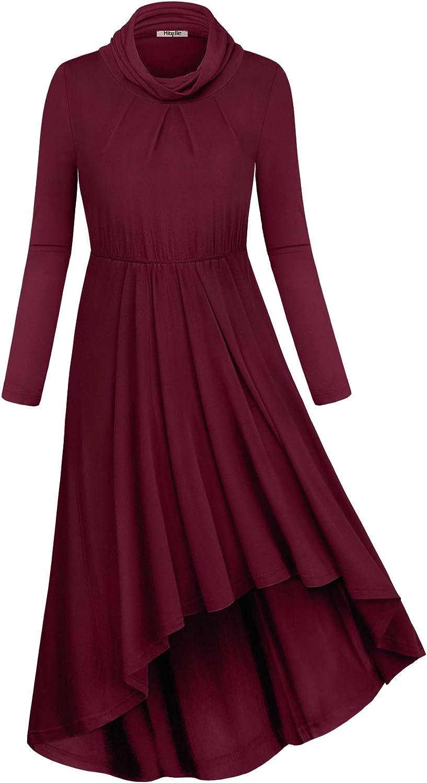 Hibelle Women's Long Sleeve Cowl Neck Pleated Swing Casual Midi Dress