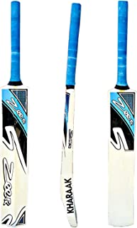 Zeepk Cricket Bat Play Like The Pros Adult Size, Cricket Tennis Ball Bat Handcrafted Kashmir Willow with Durable Comfortable Rubber Grip Short Handle Thick Edge Blade 44mm Light Weight 2lbs