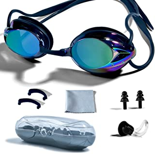 PHELRENA Swimming Goggles, Professional Swim Goggles Anti Fog UV Protection No Leaking for Adult Men Women Kids Swim Goggles with Nose Clip, Ear Plugs, Protection Case and Interchangeable Nose Bridge