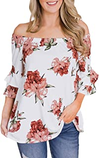 Sexy Tops for Women Floral Print Off Shoulder Half Sleeve Blouse Casual Summer Tee Shirt Tops