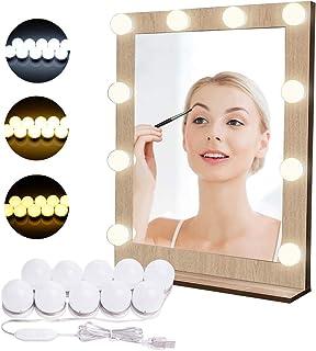 Luces para Espejo de Maquillaje LED Lámpara de Espejo Cosmético de Tocador con Estilo Hollywood 10 Piezas Bombillas Regula...