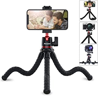 Phone Tripod, Anozer Flexible Tripod with Universal Clip&Cold Shoe Mount,Adjustable Mini Tripod Stand Holder Compatible wi...